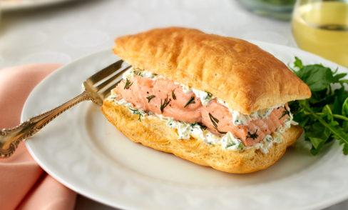Salmon with Cucumber-Dill Cream Napoleons